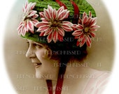 My Pretty Thinking Cap 2 DIGITAL Scans Art Deco floral HAT green French postage Stamps Vintage Postcard Christmas Humor