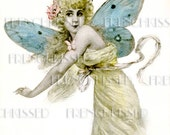 Instant Download DIGITAL scan BUTTERFLY FAIRY antique French fantasy postcard Blue Wings