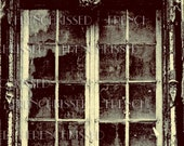 8x11 inch DIGITAL scan Spooky GOTHIC Windows French Doors Castle ARCHITECTURE Antique postcard photo download Golden Sepia 5 Choices