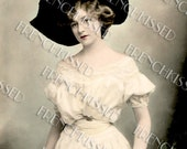 Instant Download Victorian Edwardian Glamour Lady Gabrielle Ray French postcard DIGITAL Scan
