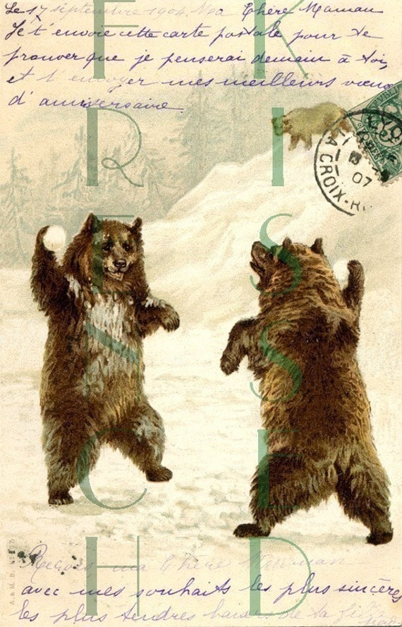 Vintage DIGITAL download Brown BEARS snowball fight Antique French postcard scan