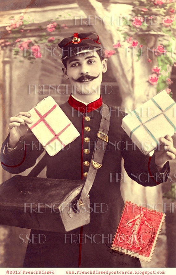 Instant Download French MAILMAN delivering Christmas Gifts Antique 1907 Victorian Postcard DIGITAL Scan