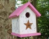 White and Valentine Pink Birdhouse Primitive Chickadee Wren Songbirds Handmade, Wooden Unique Metal Star