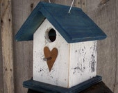 Save 25% Mothers Day Special White and Blue Birdhouse Wren Chickadee Small Songbirds Metal Heart