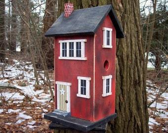 Primitive Birdhouse Folk Art Rustic Country Red Salt Box Garden Patio