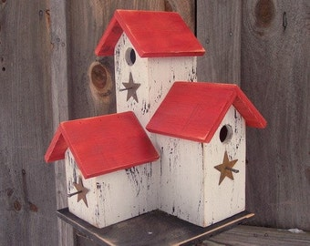 Primitive Country Condo Birdhouse White and Red Three Nesting Boxes