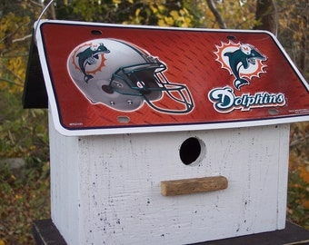 Miami Dolphins Football License Plate Birdhouse White Fully Functional NFL