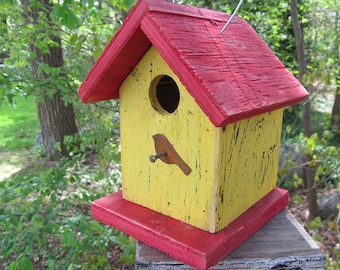 Primitive Birdhouse Yellow and Red Chickadees Wrens Finches