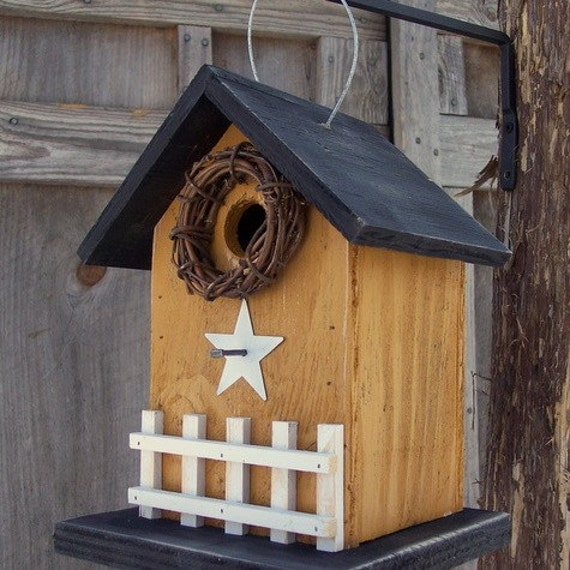 RESERVED for  Wendy Honey Mustard Rustic Primitive Birdhouse White Fence White Metal Star Grapevine Wreath Country