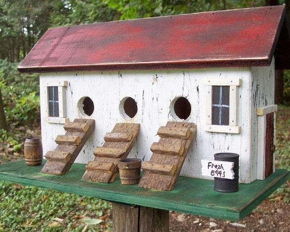 Primitive Chicken Hen House Birdhouse Three Compartment Coop