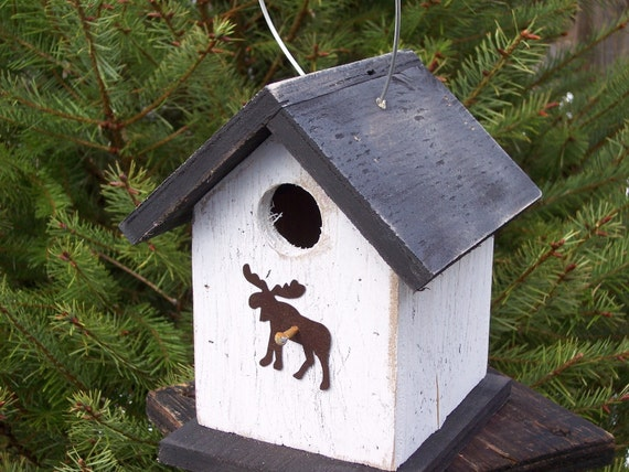 Holiday Special Save 20% Birdhouse Chickadee White and Black Primitive Rusty Moose