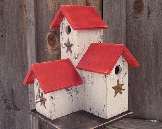 Primitive Condo Birdhouse White and Red Three Nesting Boxes