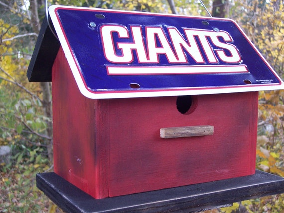 New York Giants Football License Plate Birdhouse Red Fully Functional