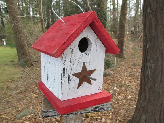Daily Special Red White Primitive Birdhouse Rusty Metal Star  Chickadee Wren Cute Songbirds