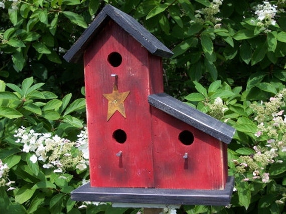 Two Compartment Primitive Birdhouse Country Red Songbirds