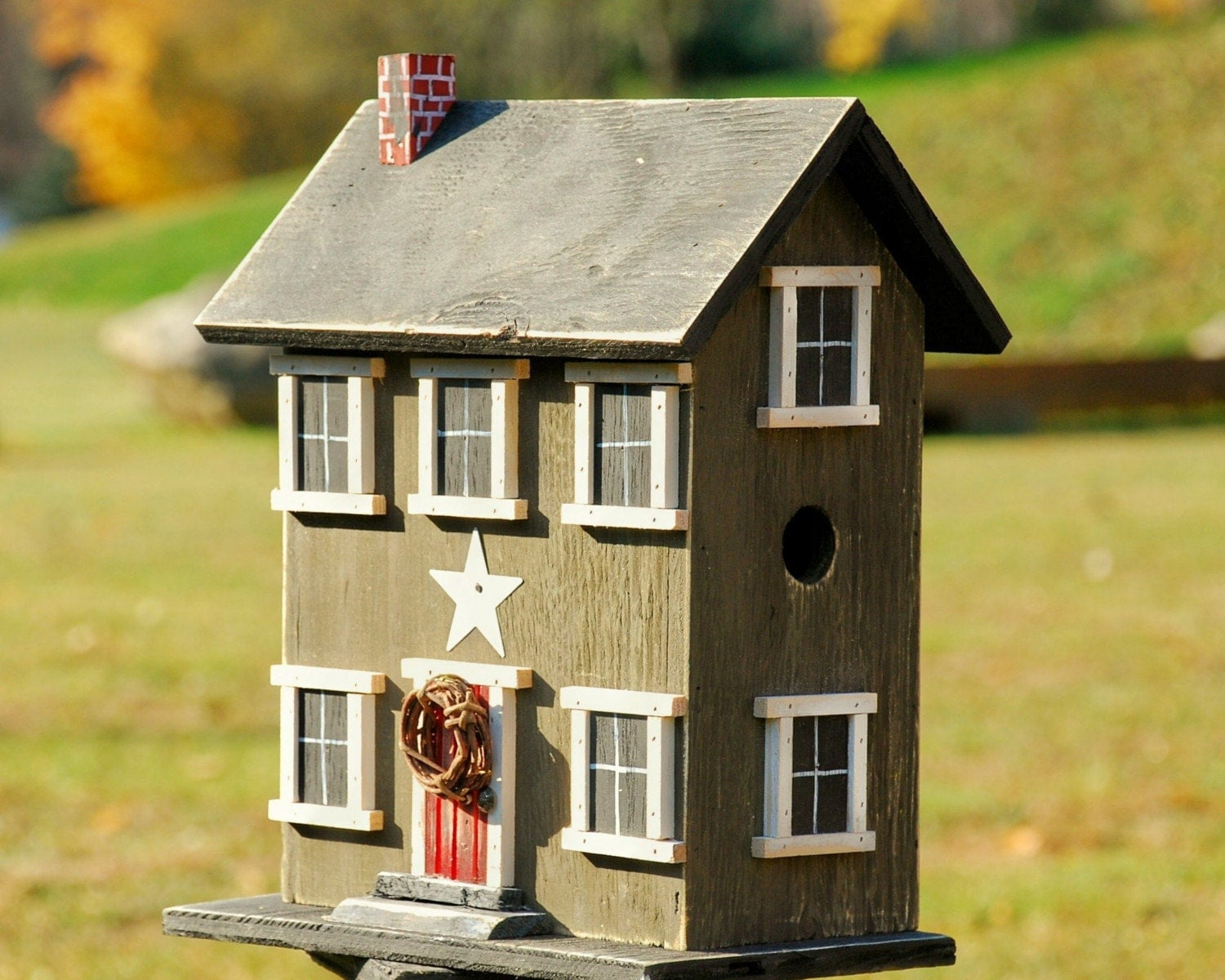 Country bird house primitive salt box tinderbox brown home for The saltbox