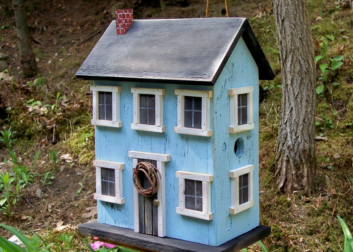 Birdhouse folk art rustic country primitive saltbox home decor for Aggiunte di saltbox house