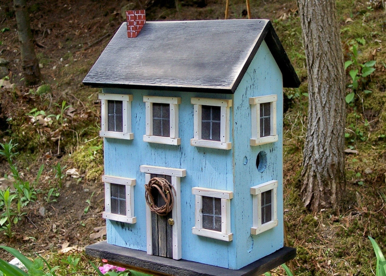 Birdhouse folk art rustic country primitive saltbox home decor for Home garden accessories