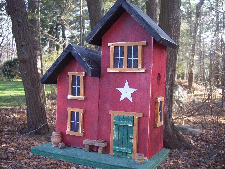 Farm House Primitive Birdhouse Country Brick Red Honey