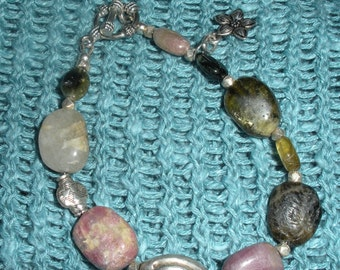 Tourmaline and Thai Silver Bracelet