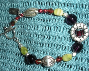 Czech Glass, Bali and Thai Silver with Red Pearls Bracelet