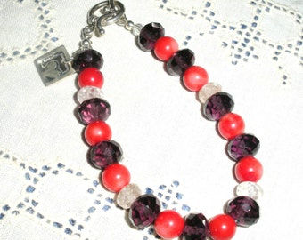 Amethyst and Coral Bracelet