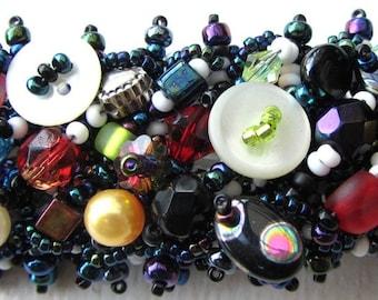 Beadweaving Tutorial 10 Magpie Cuff, Beadwoven Bracelet Pattern, Intermediate Seed Bead Jewellery Making