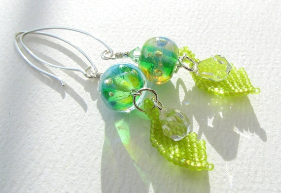 Lampwork Earrings with Beaded Leaves - Springtime Sparkle
