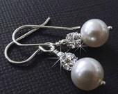 Pearl Earrings, Rhinestone and Pearl Earrings, Bridesmaid Earrings, Bridesmaid Gift