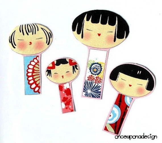 Kokeshi Dolls No Sew Appliques Set of 4
