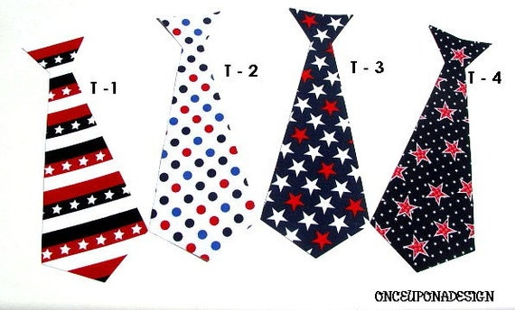 4th Of July....Patriotic Tie... Iron On Applique...Choose One Tie From Four Designs...Will Ship In 3 Days
