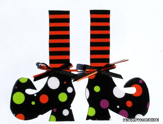 Witch Shoes Iron On Appliques Ribbons Included Tall Stockings