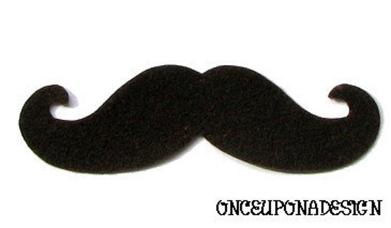 Felt Mustache...  Iron On Applique...Large Size...Chose From 12 Different Color Choices