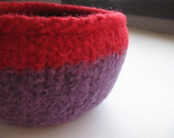 READY TO SHIP / Purple and Red Wool Felted Bowl