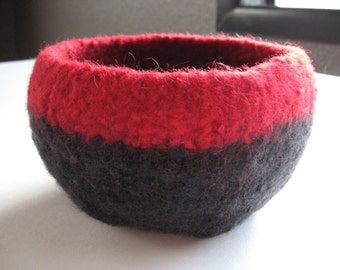 READY TO SHIP / Black and Red Wool Felted Bowl