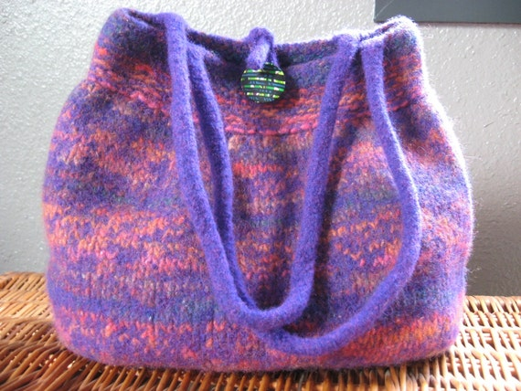 SALE - Felted Bubble Bag  - Purple with Multi Colors