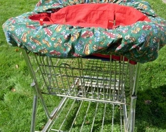 Shopping cart cover for boys in trucks for germ free shopping.