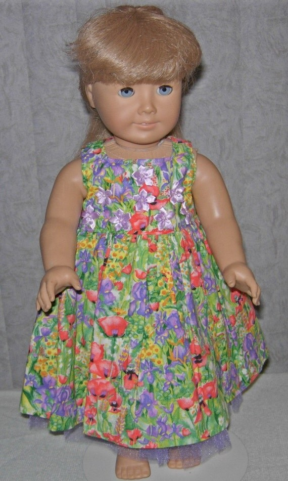 """American Girl Doll dress for 18"""" dolls in poppies and iris"""