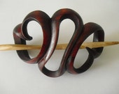 Wooden Handcrafted Hair Ornament for Waist Long Hair or Longer  Natural  Wood Maroon