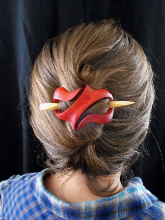 Wooden Hair Ornament Red Long Hair Natural Feminine By