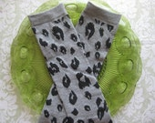 Baby Leg Warmers-Dark Gray and Black Leopard - CHOOSE YOUR SIZE