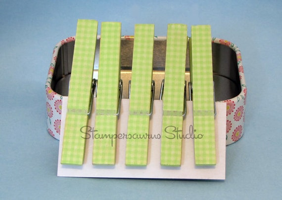 Green Washi Gingham Clothespins