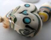 MY MINI PORCELAIN HEART SET Lampwork Glass beads