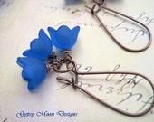 Electric Blue Flower earrings Blue earrings Nature jewelry Fall Fashion