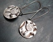 Everyday Silver earrings Stocking stuffer small disk drop earrings Simple Jewelry