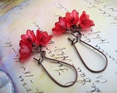 Red earrings shiny Red Flower earrings Small dangle earrings kidney earwire spring summer Flower jewelry