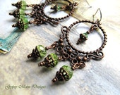 Chandelier Gypsy earrings Green -  Gypsy Jewelry