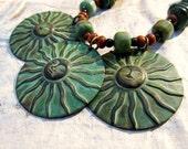 Patina Sun Turquoise necklace Bohemian jewelry