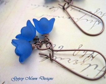 Blue Flower Earrings, lily of the valley earrings - bridesmaid jewelry