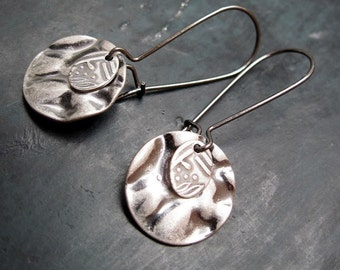 small hammered silver earrings - Simple Jewelry